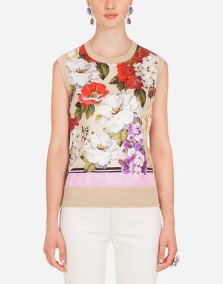 Dolce & Gabbana Sleeveless Floral-Print Twill And Silk Sweater