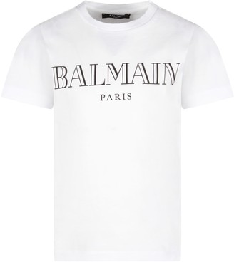 Balmain White T-shirt For Kid With Logo