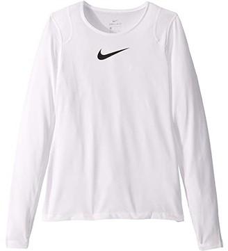 Nike Kids Pro Long Sleeve Top (Little Kids/Big Kids) (White/White/Black) Girl's Clothing