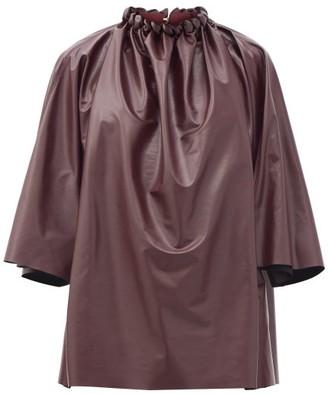 Roksanda Ava Braided-neck Faux-leather Top - Burgundy
