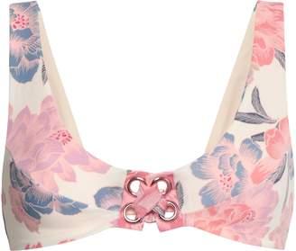 Tori Praver Swimwear Lace-up Floral-print Bikini Top