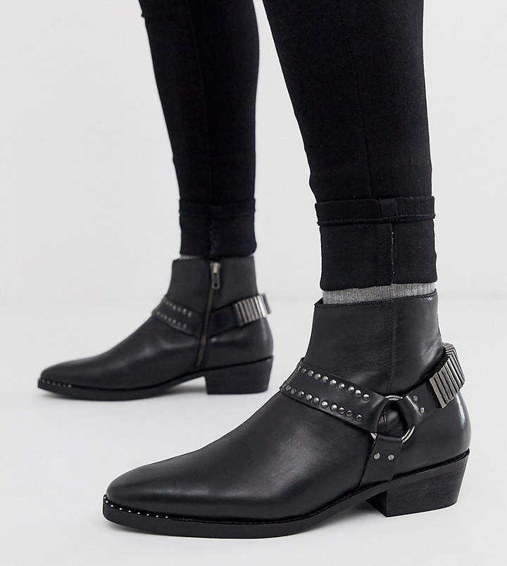 041c35033c9 Design DESIGN Wide Fit stacked heel western chelsea boots in black leather  with studding and hardware detail