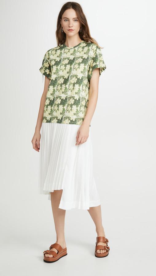 3.1 Phillip Lim Daisy Printed Pleated T Shirt Dress