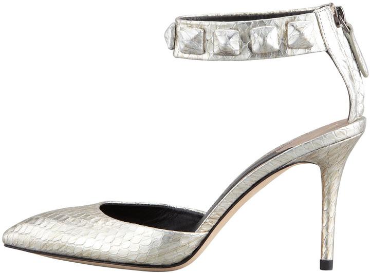Brian Atwood Mercada Snakeskin Studded Ankle-Band Sandal