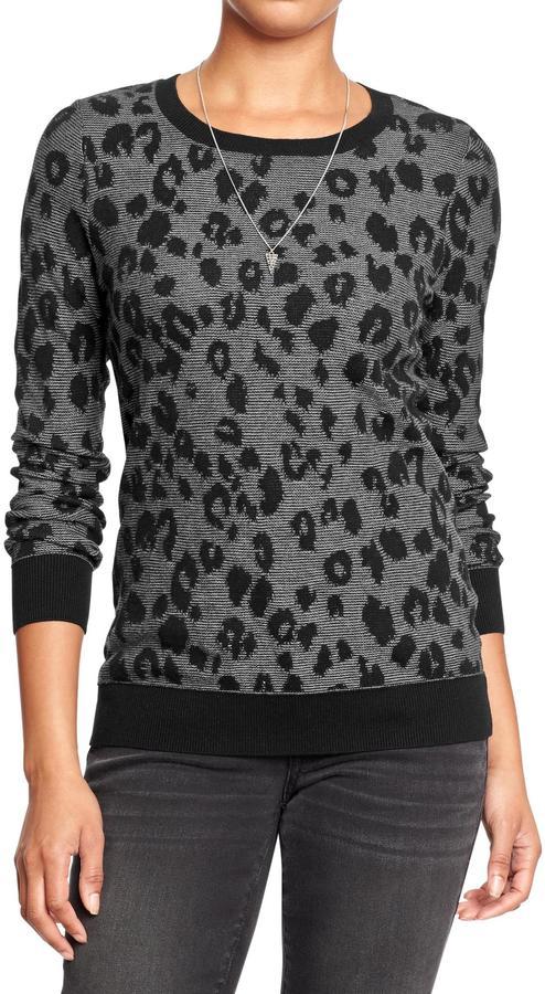 Old Navy Women's Leopard-Print Crew-Neck Sweaters