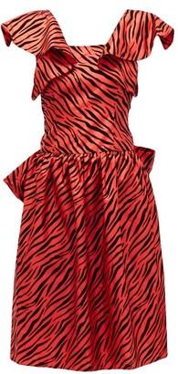 Batsheva Flocked Zebra-print Satin Dress - Womens - Red