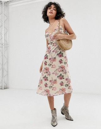 Wild Honey midi slip dress in romantic floral-Cream