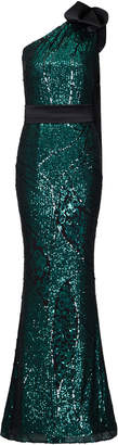 Safiyaa Gwendolyn Sequined One-Shoulder Gown
