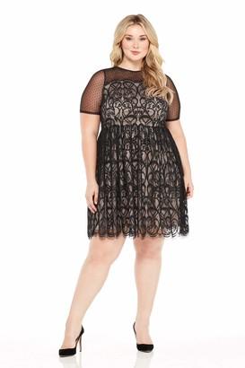 London Times Women's Plus Size Fit & Flare Dress w. Illusion Neckline