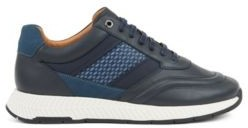 HUGO BOSS Mixed Leather Sneakers With Injected Monogram Motif - Dark Blue