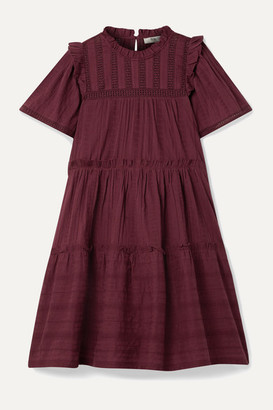 Sea Pascale Ruffled Broderie Anglaise-trimmed Cotton-voile Mini Dress - Burgundy