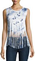 Romeo & Juliet Couture Tie-Dye Fringe-Hem Tank, White/Blue