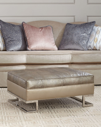 Old Hickory Tannery Natalie Embossed Leather Ottoman