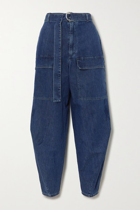 Stella McCartney + Net Sustain Belted High-rise Tapered Jeans - Blue