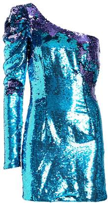 Amen Bi-Color Paillette One-Shoulder Dress