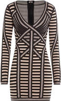Herve Leger Striped Mini Dress