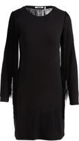Three Dots Black Fringe-Accent Sheath Dress
