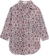 L'Agence Ryan Floral-print Washed-silk Shirt - Purple