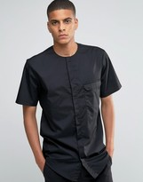 Asos Collarless Military Shirt In Black With Short Sleeves In Regular Fit