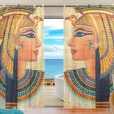 JSTEL Bedroom Decor Living Room Decorations Ancient Egyptian Art Pattern Print Tulle Polyester Door Window Gauze / Sheer Curtain Drape Two Panels Set ,Set of 2