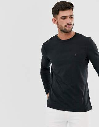 Tommy Hilfiger slim fit classic logo long sleeve t-shirt in black