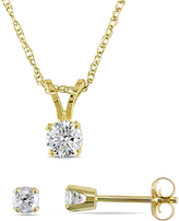 Julie Leah 1/2 CT TW Diamond 14K Gold Solitaire Necklace and Stud Earrings Set