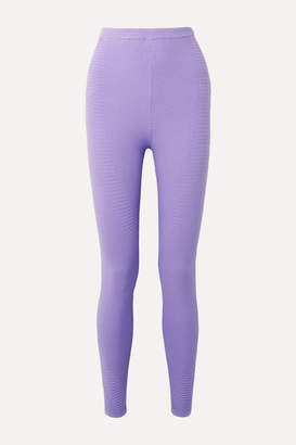 Adam Selman Ribbed Stretch-knit Leggings - Lavender