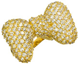 Crystal Studded Gold Bow Ring