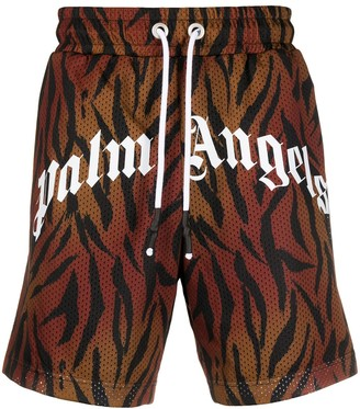 Palm Angels Tiger-Print Mesh Track Shorts