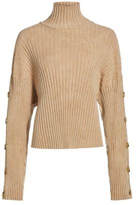 Proenza Schouler Button-Trimmed Velvet & Wool Turtleneck Sweater