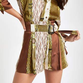 River Island Womens Petite Brown chain print tie waist shorts