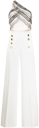 Elisabetta Franchi One-Shoulder Beaded Wide-Leg Jumpsuit