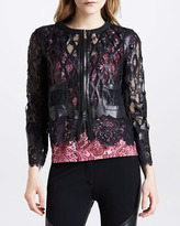 Just Cavalli Laser-Cut Leather & Lace Jacket