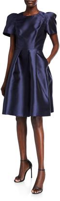 Black Halo Sondrio Short-Sleeve Dress