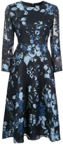 Lela Rose floral pattern midi dress