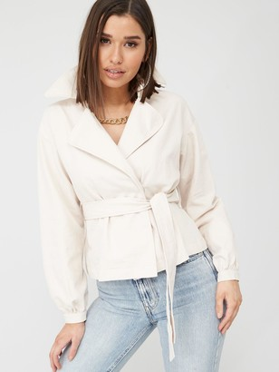 Missguided Cropped Belted Mac - Cream