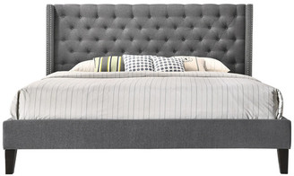 Pacifica Altozzo Home Tufted Upholstered Platform Contemporary Bed, Gray, King
