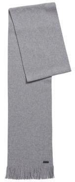 HUGO BOSS Raschel Knit Scarf In Virgin Wool With Logo - Grey