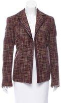 Akris Leather-Trimmed Tweed Blazer
