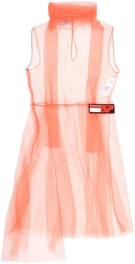 Prada sleeveless organza logo patch dress