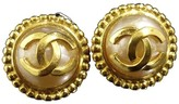 Chanel Gold-Tone Faux Pearls Coco Mark Motif Clip-On Earrings