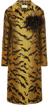 Christopher Kane Feather-embellished Wool-blend Jacquard Coat - Yellow