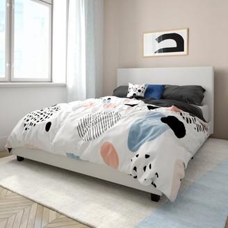 Mainstays Upholstered Bed, Full Bed Frame, Blue Velvet