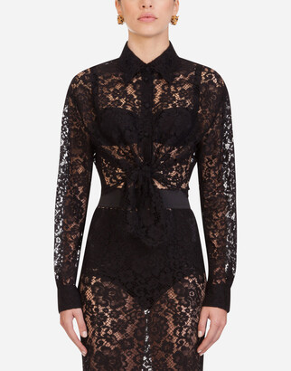 Dolce & Gabbana Short Lace Shirt With Bow