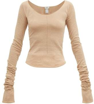 Lemaire Second Skin Scoop-neck Crepe-knit Sweater - Womens - Beige