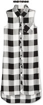Sequin Hearts Plaid Sleeveless Shirt with Necklace, Big Girls (7-16)