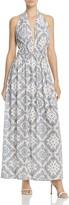 Aqua Printed Deep-v Maxi Dress - 100% Exclusive