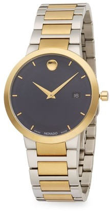 Movado Modern Classic Stainless Steel & PVD Yellow Gold Stainless Steel Bracelet Watch