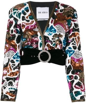 ATTICO belted sequined V-neck jacket