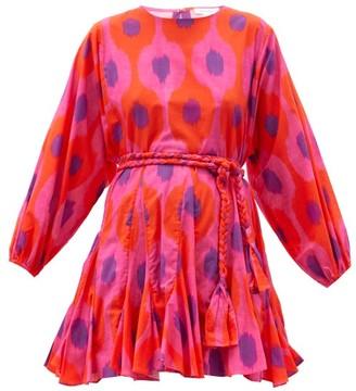 Rhode Resort Ella Belted Ikat-print Cotton Mini Dress - Pink Multi